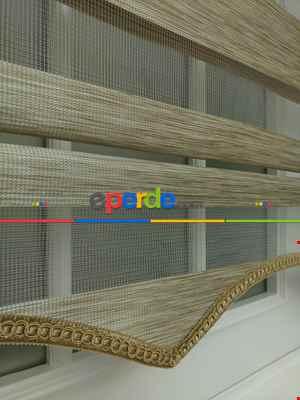 Zebra Perde -bambu Düz Zebra Perde- Açık Vizon