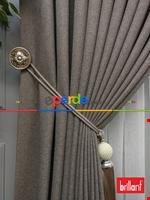 Brillant Keten Açık Vizon Renk Düz Fon Perde 180cm- Açık Vizon Kahverengi