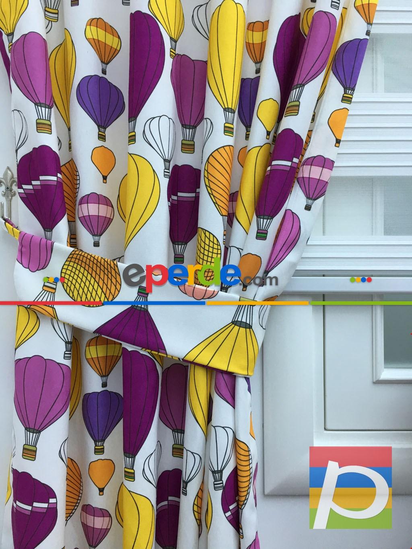 Balonlar Desenli Fon Perde ( Kalın Pamuklu Kumaş)- Sarı-pembe Koyu-mor Patlıcan Moru-hardal Sarısı