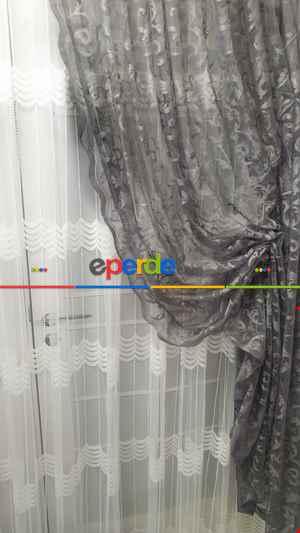 Tül Fon Gri Renk Fon Büzgülütasarım Yeni Moda Perde- Gri-füme-antrasit 70cm X 270cm