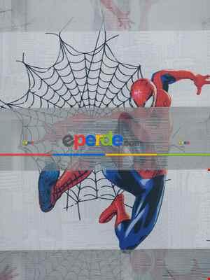 Spiderman Desenli Erkek Çocuk Zebra Perde- Mavi-kırmızı