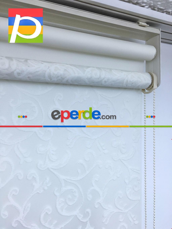Dantel Çiftli Sistem Tül Stor Perde,ekru Renk