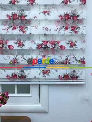 Desenli Mutfak Zebra Perde- Beyaz
