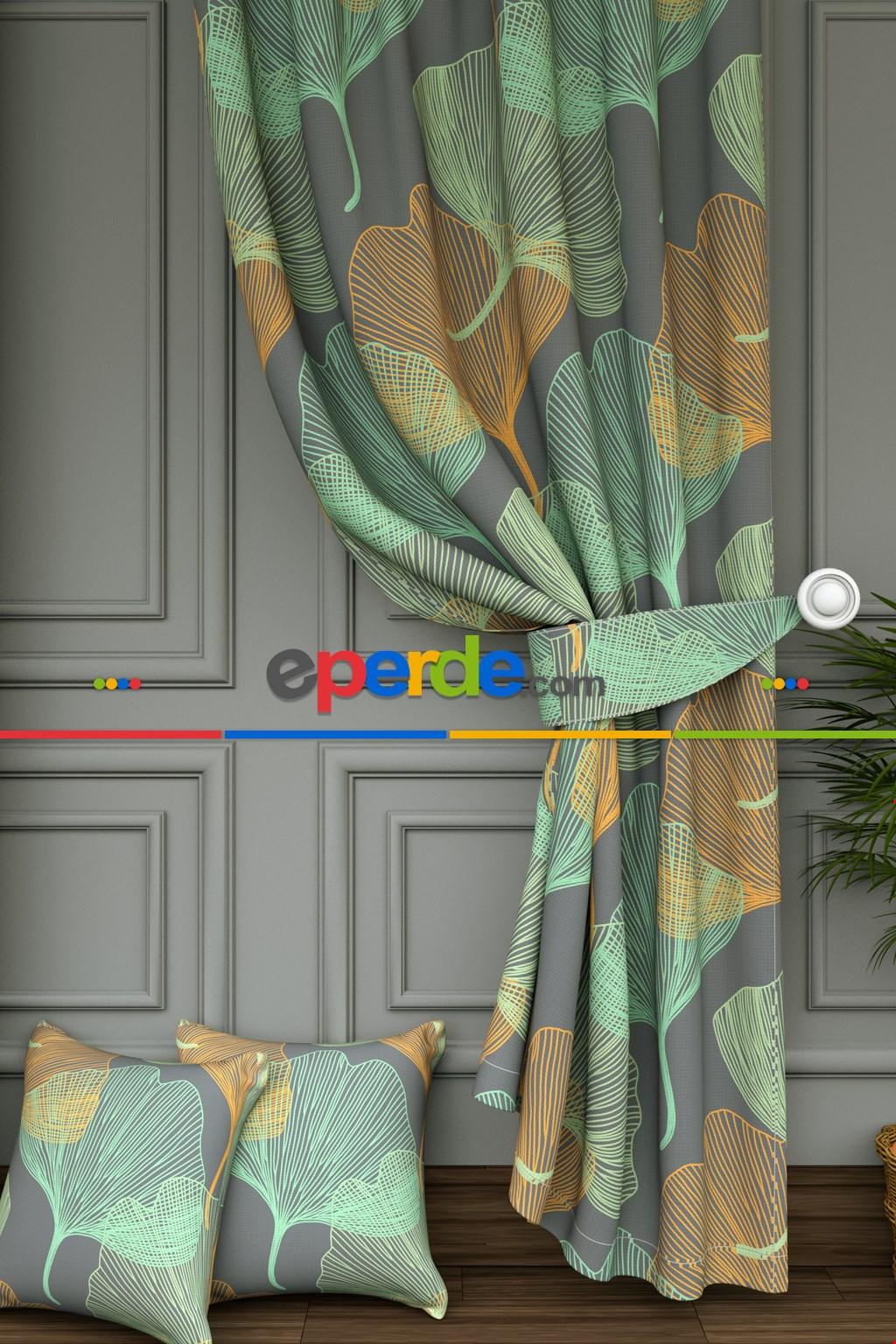 Salon - Tropikal Çizgili Yaprak Desenli Baskılı Fon Perde- Yeşil-gri-füme-antrasit-turuncu