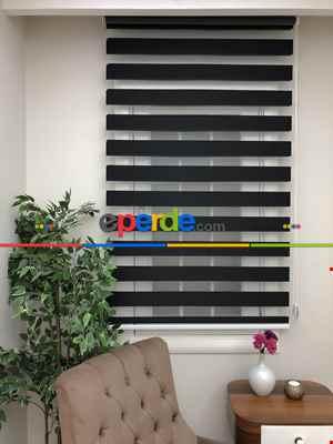 Salon Zebra Perde - Yüksek Kalite Düz Zebra Perde - Siyah Renk- Siyah