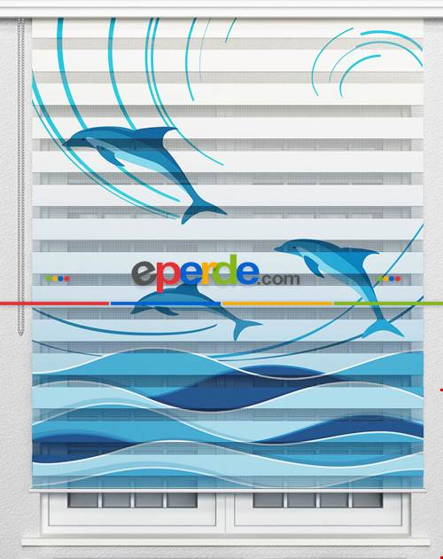 Yunus Balıkları Özel Poster Baskılı Zebra Perde