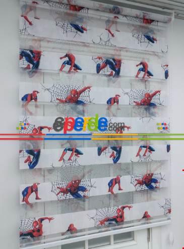 Çocuk Odası - Örümcek Adam Baskılı Zebra Perde- Mavi