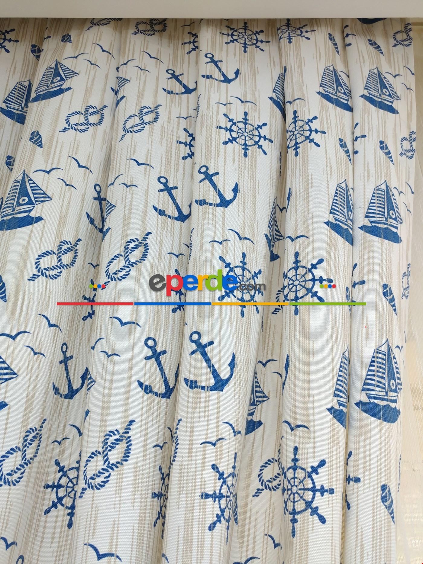 Desenli Fon Perde - Denizci Mavi- Leke Tutmaz