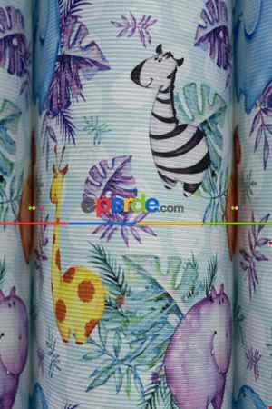 1. Kalite Bebek Ve Çocuk Baskılı Tül Dikey Zebra Perde Zürafa - Zebra - Deve - Fil Desen- Yeşil-mavi-sarı-lila-açık Yeşil-sütlü Kahve-su Yeşili