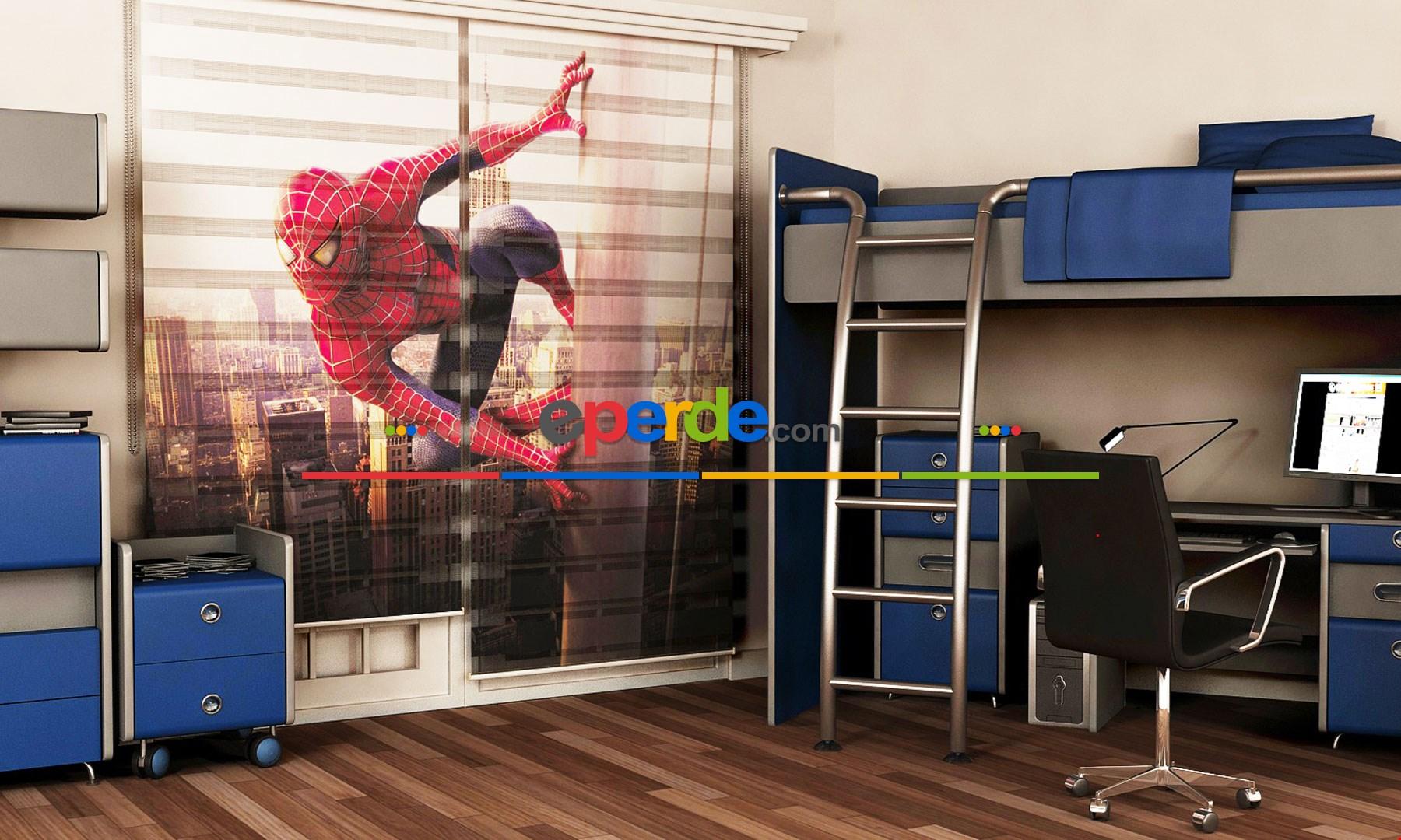 Çocuk Odası Örümcek Adam- Baskılı Zebra Stor Perde