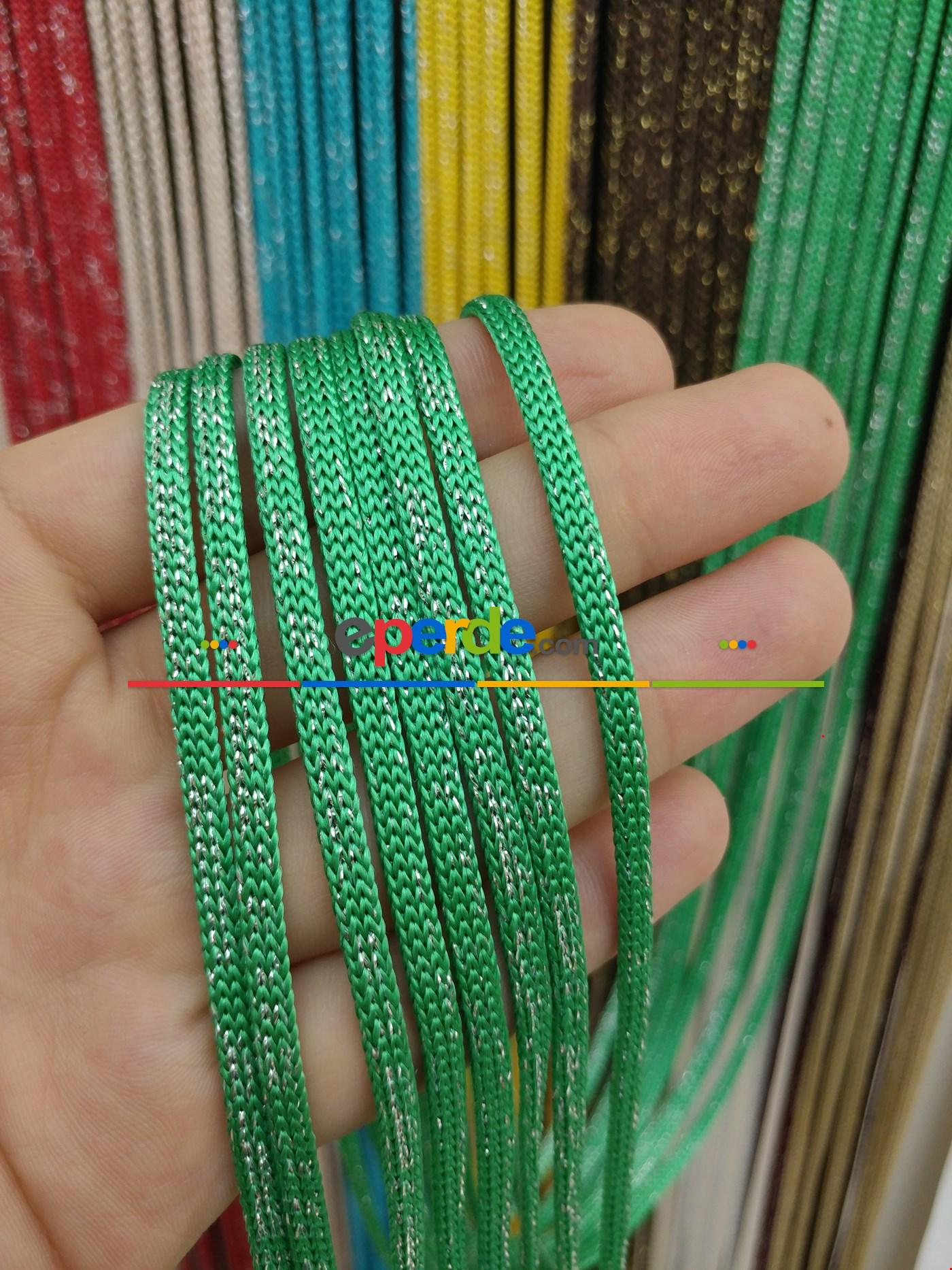 Gri Rengi Simli İp Perde Jumbo Zincir Serisi Yeşil - Gümüş