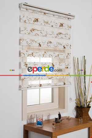 Salon Zebra Perde - Fırsat!!! Crepper Nakış İşlemeli Desenli Zebra Perde- Yeşil