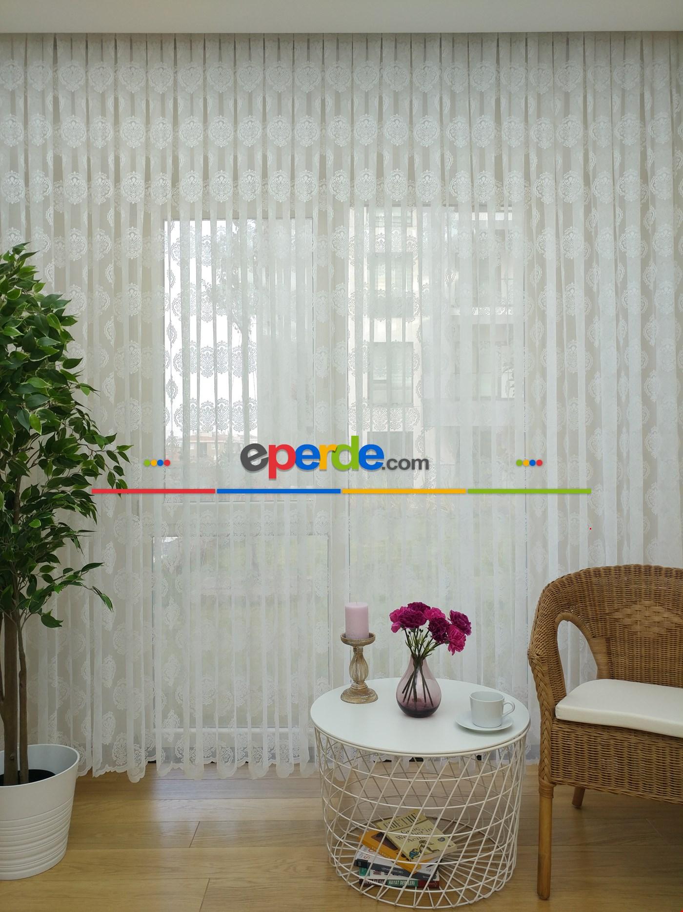 Damask Desen Salon Fransız Dantel Tül Perde & Kruvaze Perde
