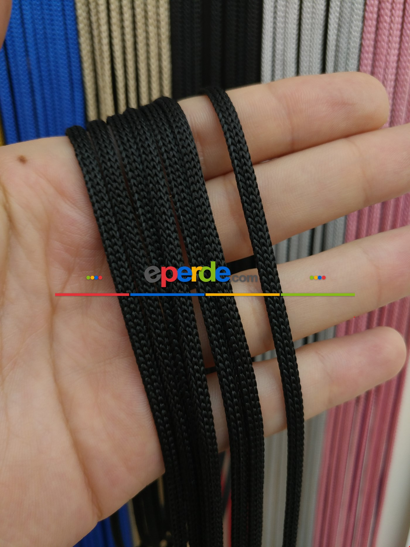 Gri Rengi İp Perde Jumbo Zincir Serisi Siyah