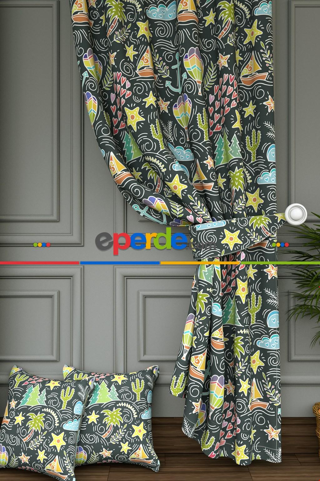 Kayık Ve Yıldız Baskılı Fon Perde- Sarı-pembe-açık Yeşil-mavi Açık