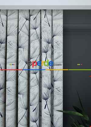 Blackout Kumaştan Mutfak Fon Perde - Geniş En Kırık Beyaz Lacivert Modern Desenli Fon Perde 1. Kalite