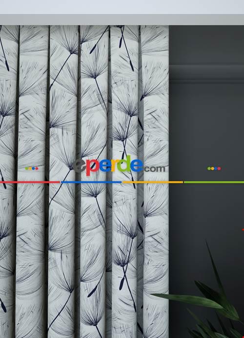 Geniş En Kırık Beyaz Lacivert Modern Desenli Fon Perde 1. Kalite Çok Dökümlü