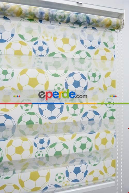 Futbol Topu Desen Zebra Perde- Yeşil-Mavi-Sarı