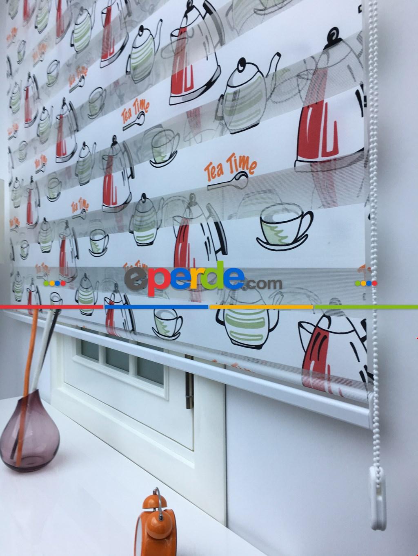 Baskılı Zebra Perde Çay Zamanı Yazılı