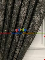 Modern Desenli Jakarlı Fon Perde- Yeşil-kum Beji Siyah - Gri Füme Antrasit