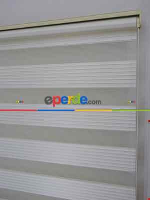 100x200 Hazır Ekru Dar Plise Zebra Perde-436- Krem Açık
