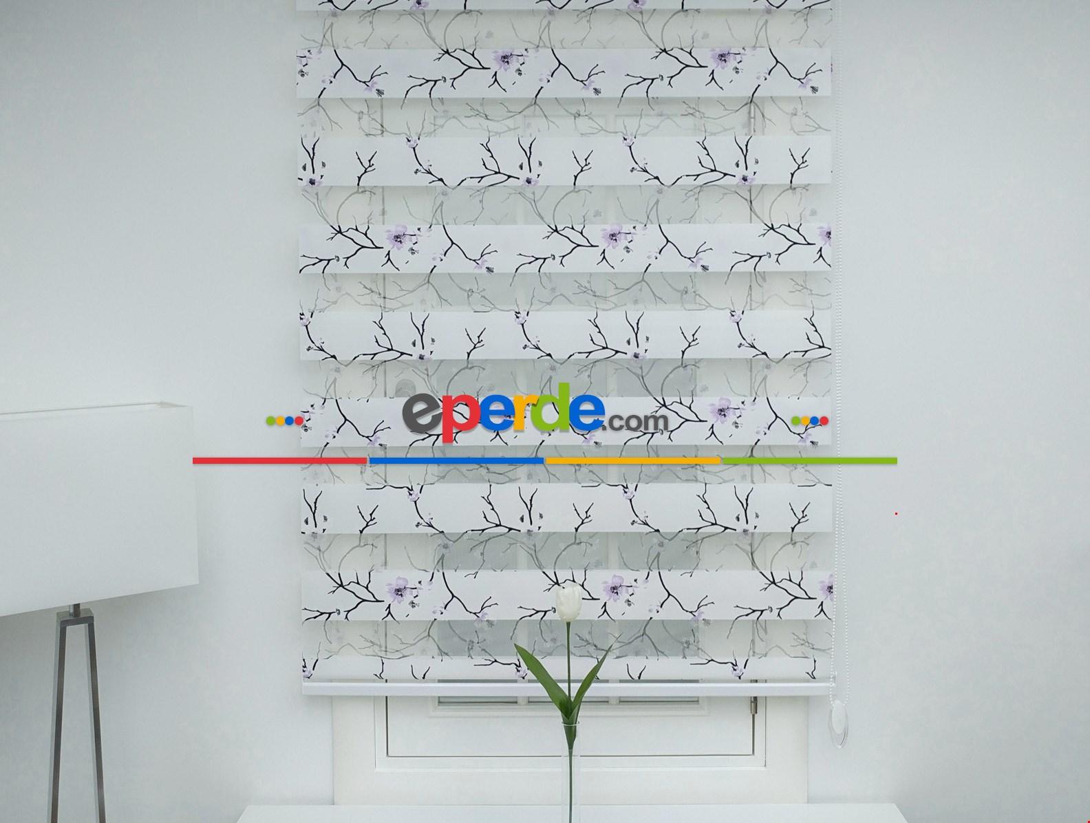 Çiçek Desenli Zebra Perde - Spor Desenli Lila