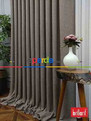 Salon Fon - Brillant Keten Açık Vizon Renk Düz Fon Perde 180cm- Açık Vizon