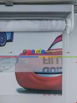 Zebra Perde- Dijital Şimşek Mcqueen Baskılı Zebra Perde- Mavi-kırmızı-sarı