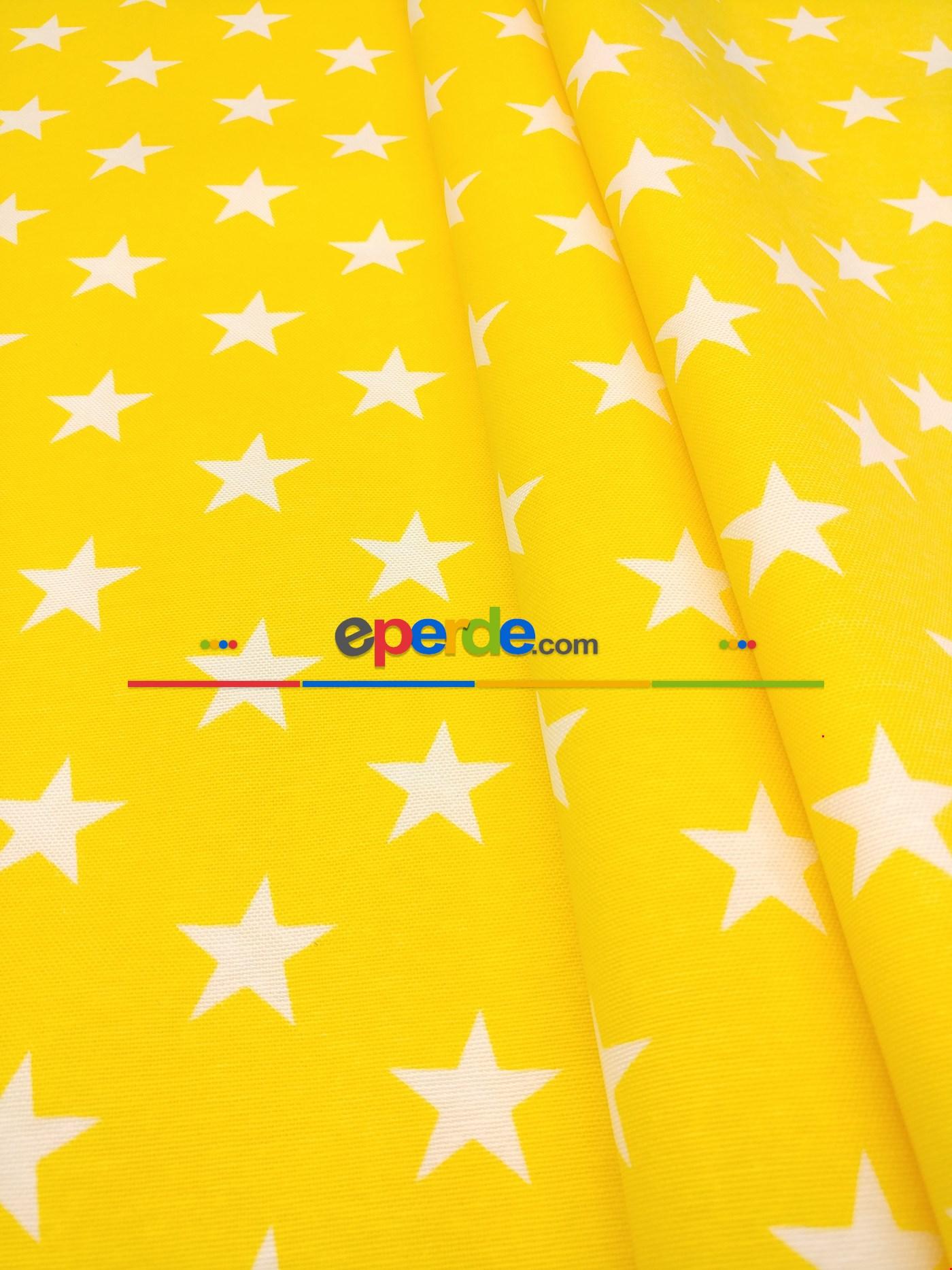 Yıldız Desenli Fon Perde ( Leke Tutmaz ) Sarı