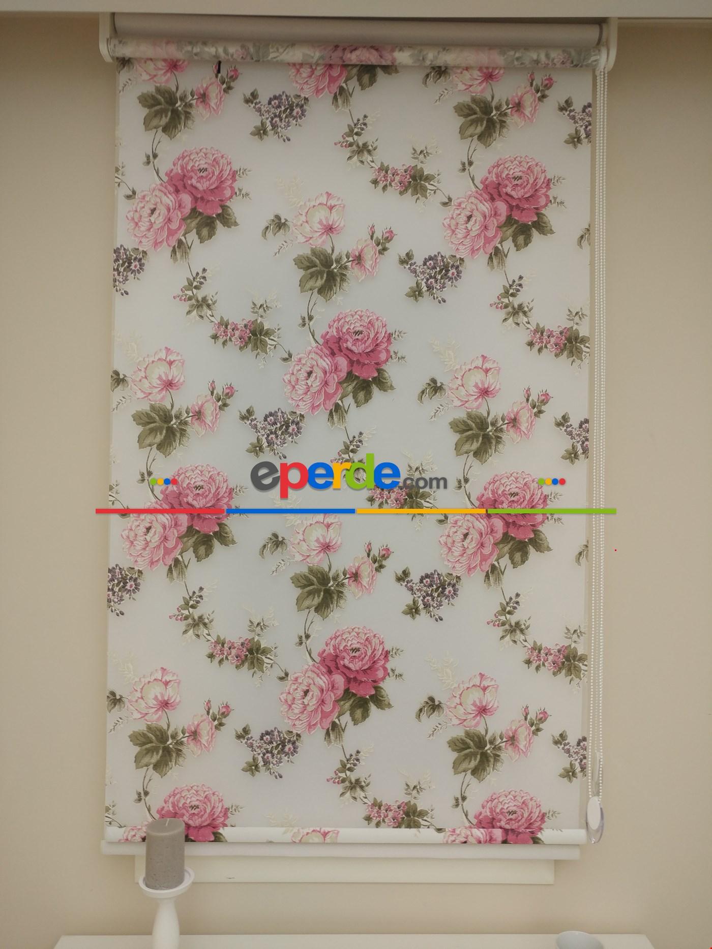 Yeni Tül Stor Perde Pembe Çiçek Desenli