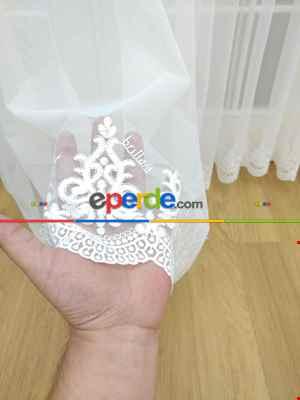 Etek Ucu Nakışlı Brillant Tül Perde - %40 Extra İndirimli- Ekru