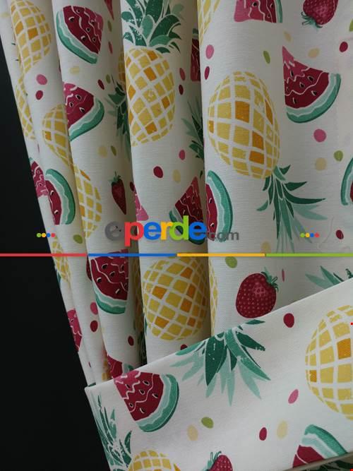 Karpuz-ananas-çilek Desenli Fon Perde (leke Tutmaz )- Kırmızı-Hardal Sarısı