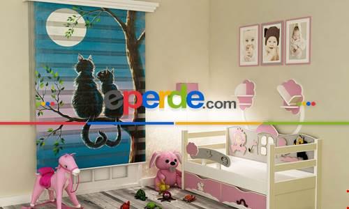 Çocuk Odası Kedicikler- Baskılı Zebra Stor Perde