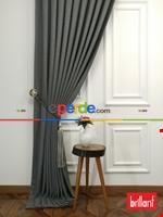 Brillant Keten Açık Vizon Renk Düz Fon Perde 180cm- Açık Vizon Gri Füme Antrasit