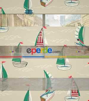 Bebek Odası Zebra Perde - Gemi Desen Baskılı Zebra Perde- Yeşil-Kırmızı-Bej