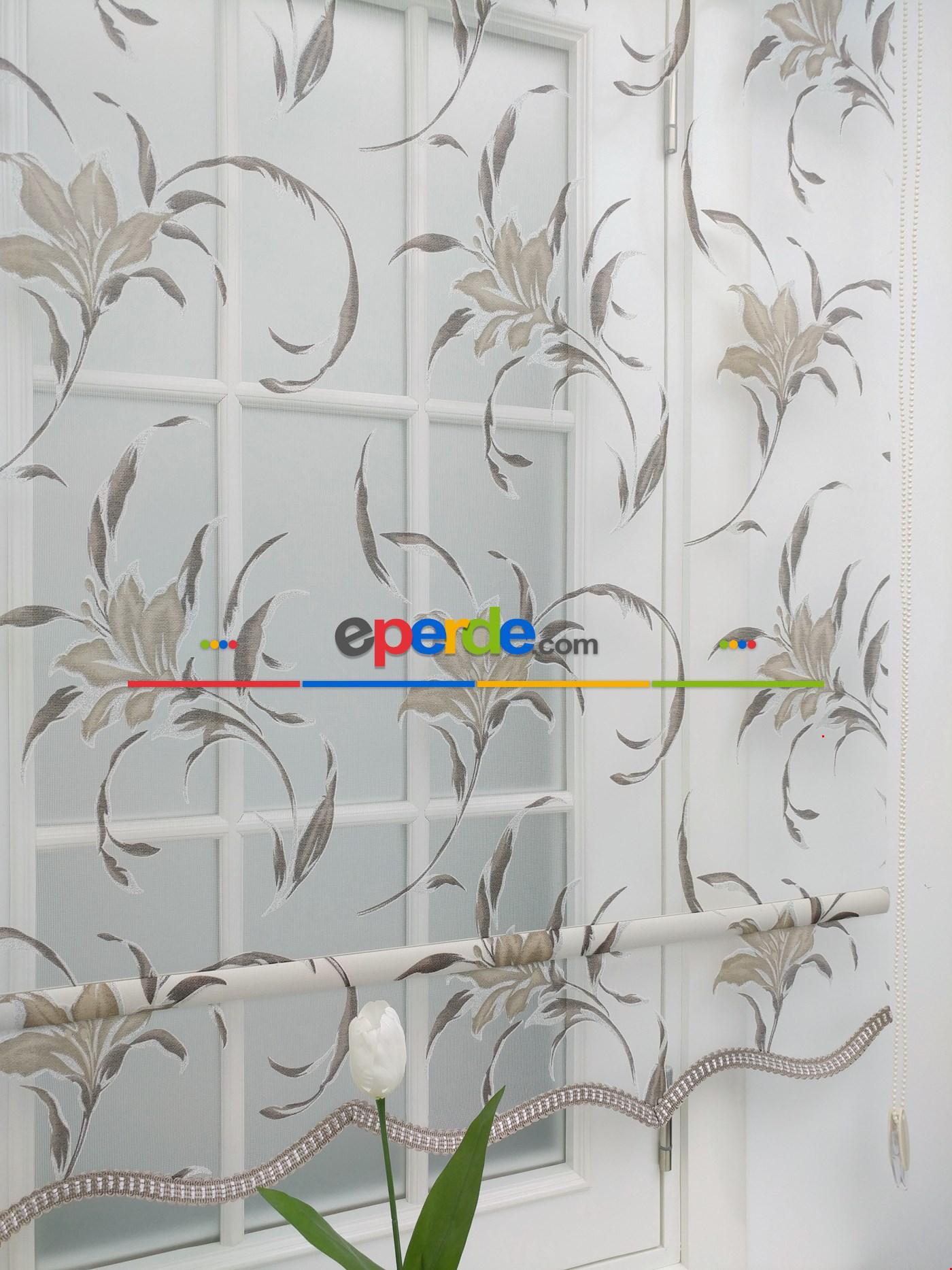 Çiftli Sistem Çiçek Desen Tül Stor Perde