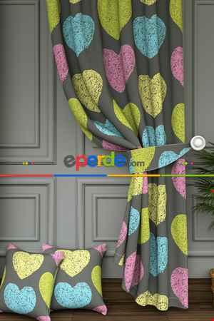Renkli Kalpler Desenli Baskılı Fon Perde