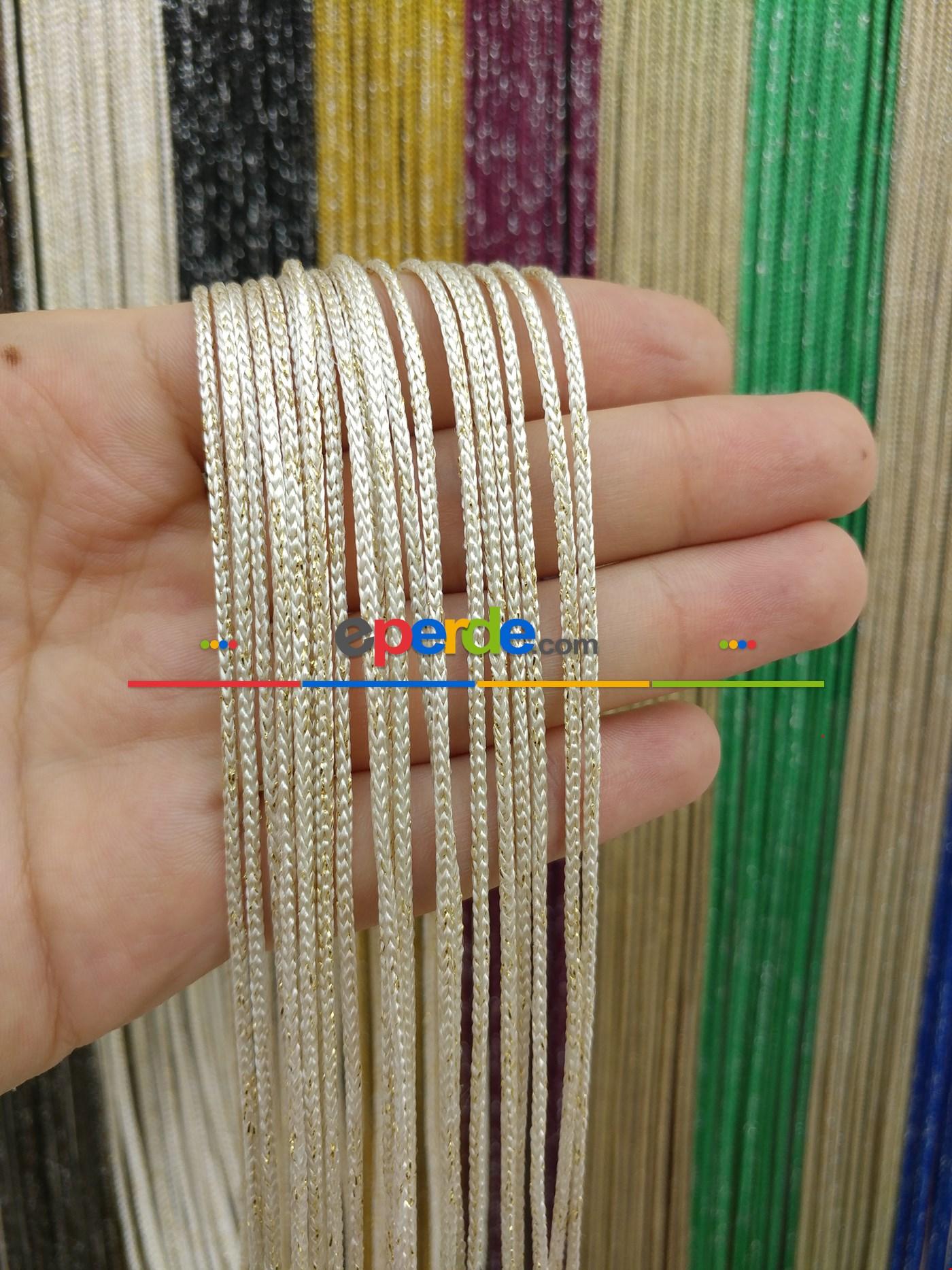 Bej Rengi İp Perde Kalın Zincir Simli Serisi Beyaz - Altın