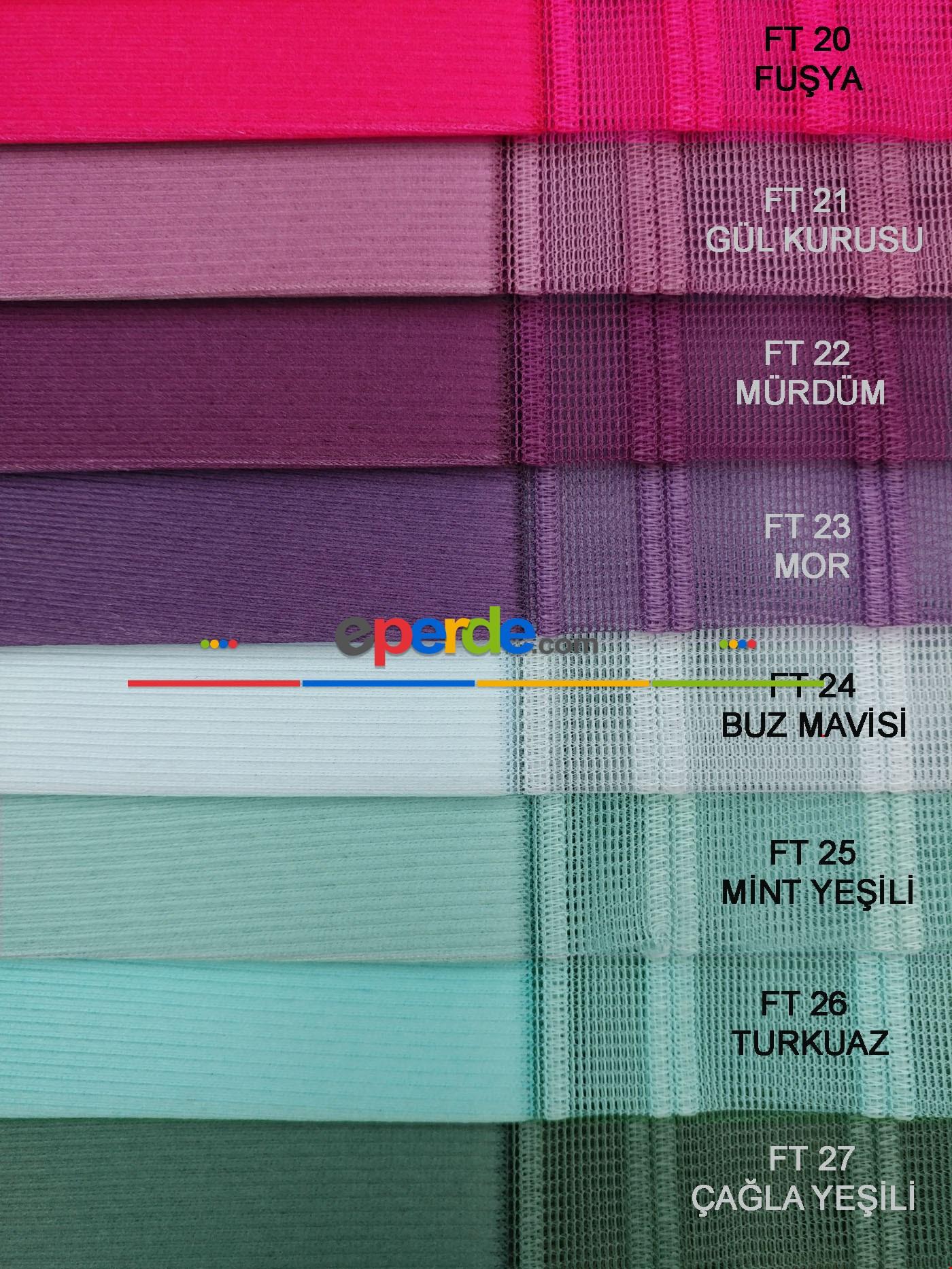 Çizgili Tül Dikey Zebra Perde - Ft27 Çağla Yeşili- Ft26 Turkuaz- Ft25 Mint Yeşili- Ft02 Ekru