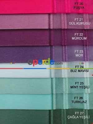 Çizgili Tül Dikey Zebra Perde - Ft27 Çağla Yeşili- Ft26 Turkuaz- Ft25 Mint Yeşili- Ft02 Ekru- Yeşil-turkuaz-mint-ekru