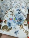 Mavi Çiçek Baskılı Duck Bezi Fon Perde#