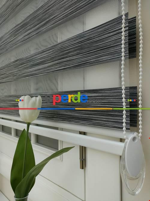 #üreticifirma %40 İndirimli Lüx Bambu Zebra Perde Ahşap Görünümlü -füme- Füme