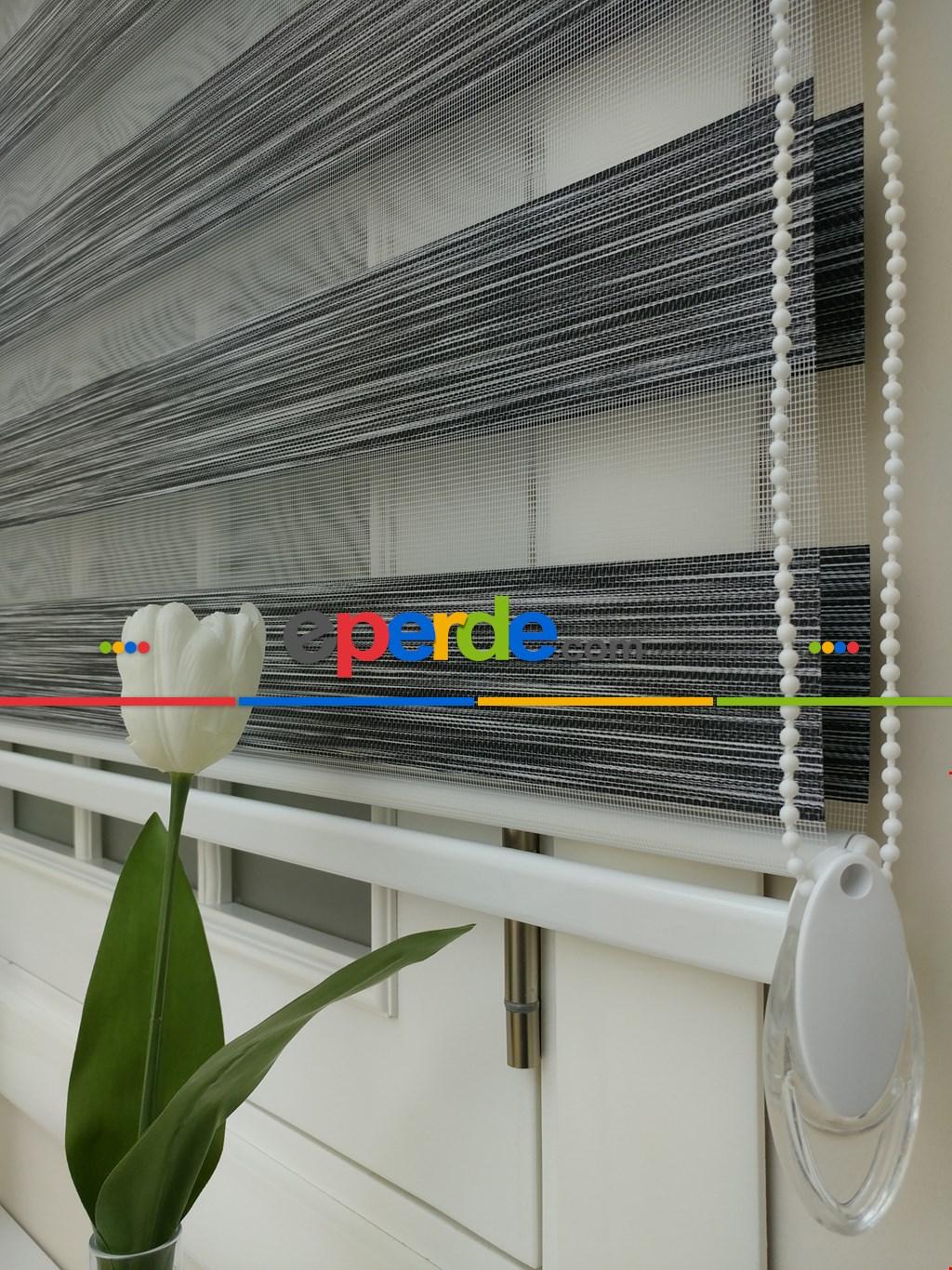 Salon Zebra Perde - Fırsat!!! Lüx Bambu Zebra Perde Ahşap Görünümlü -füme- Füme