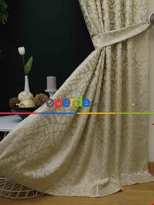 Salon Perdesi - Krem Desenli Jakar Fon Perde (geniş En:280 Kumaş)- Krem