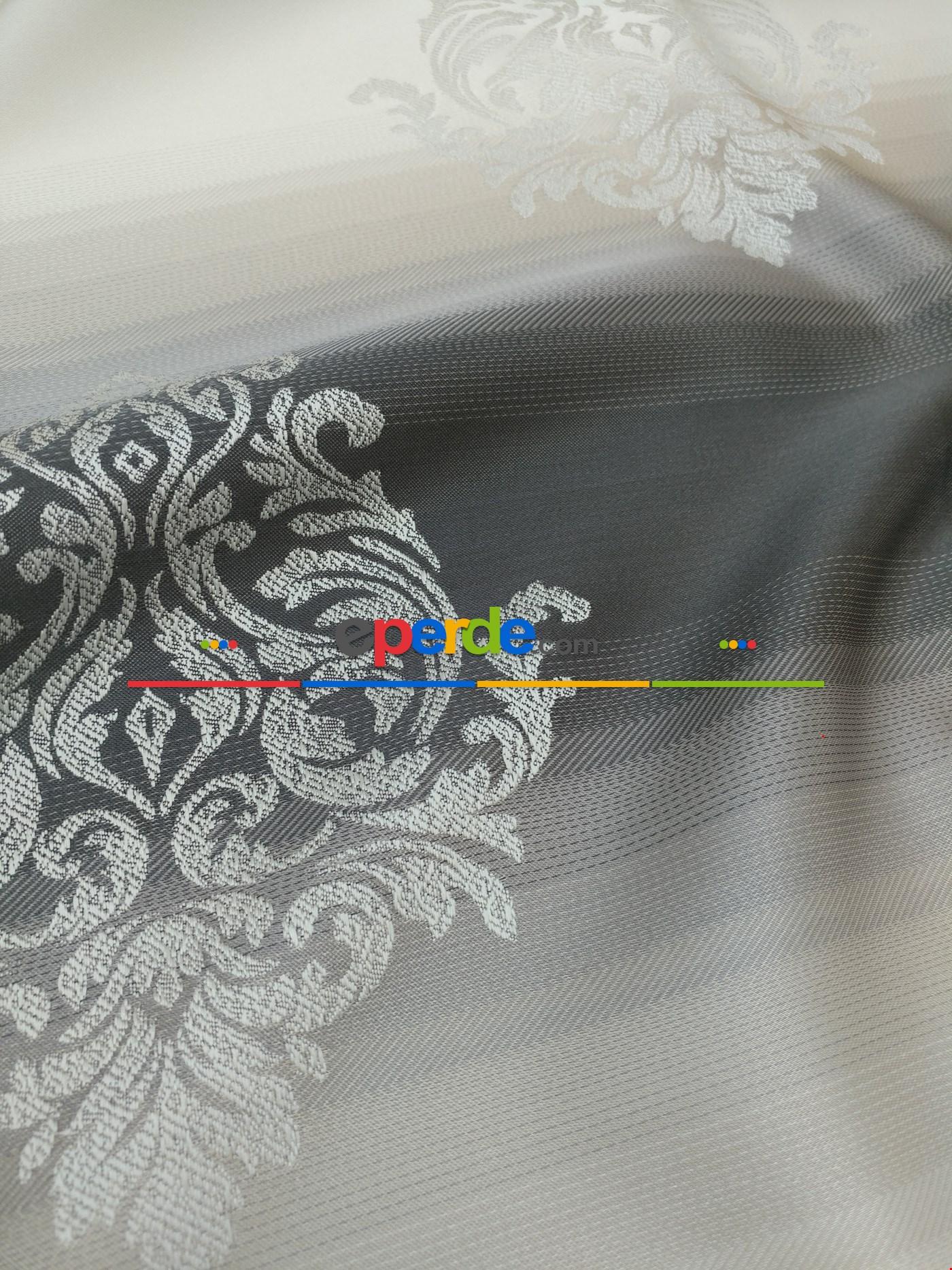 Renk Geçişli Jakar Desenli Salon Fon Perdesi - Koyu Gri - Vizon - Bej