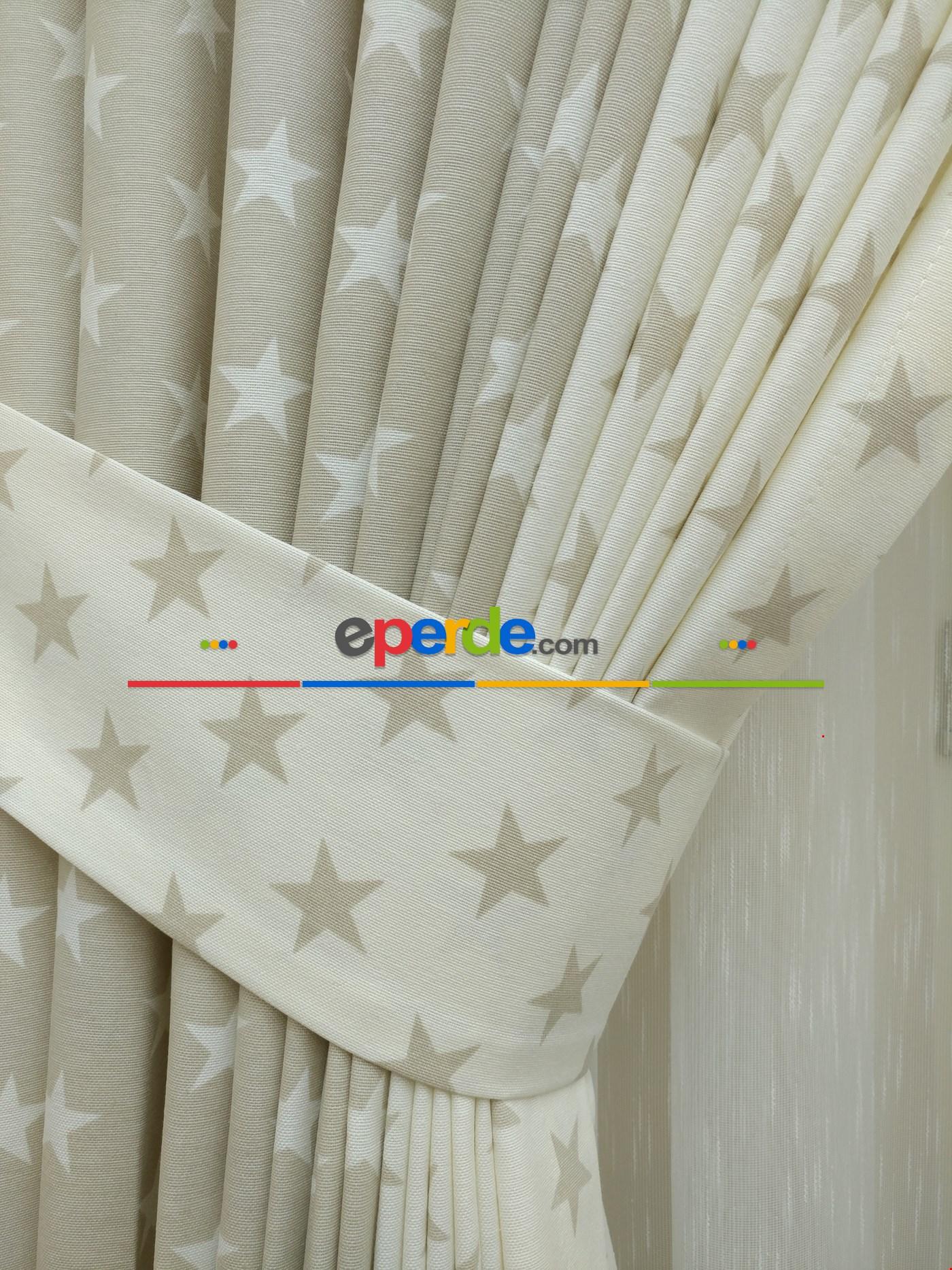 Yıldız Desenli Kombinli Fon Perde ( Leke Tutmaz ) Ekru - Taş Rengi