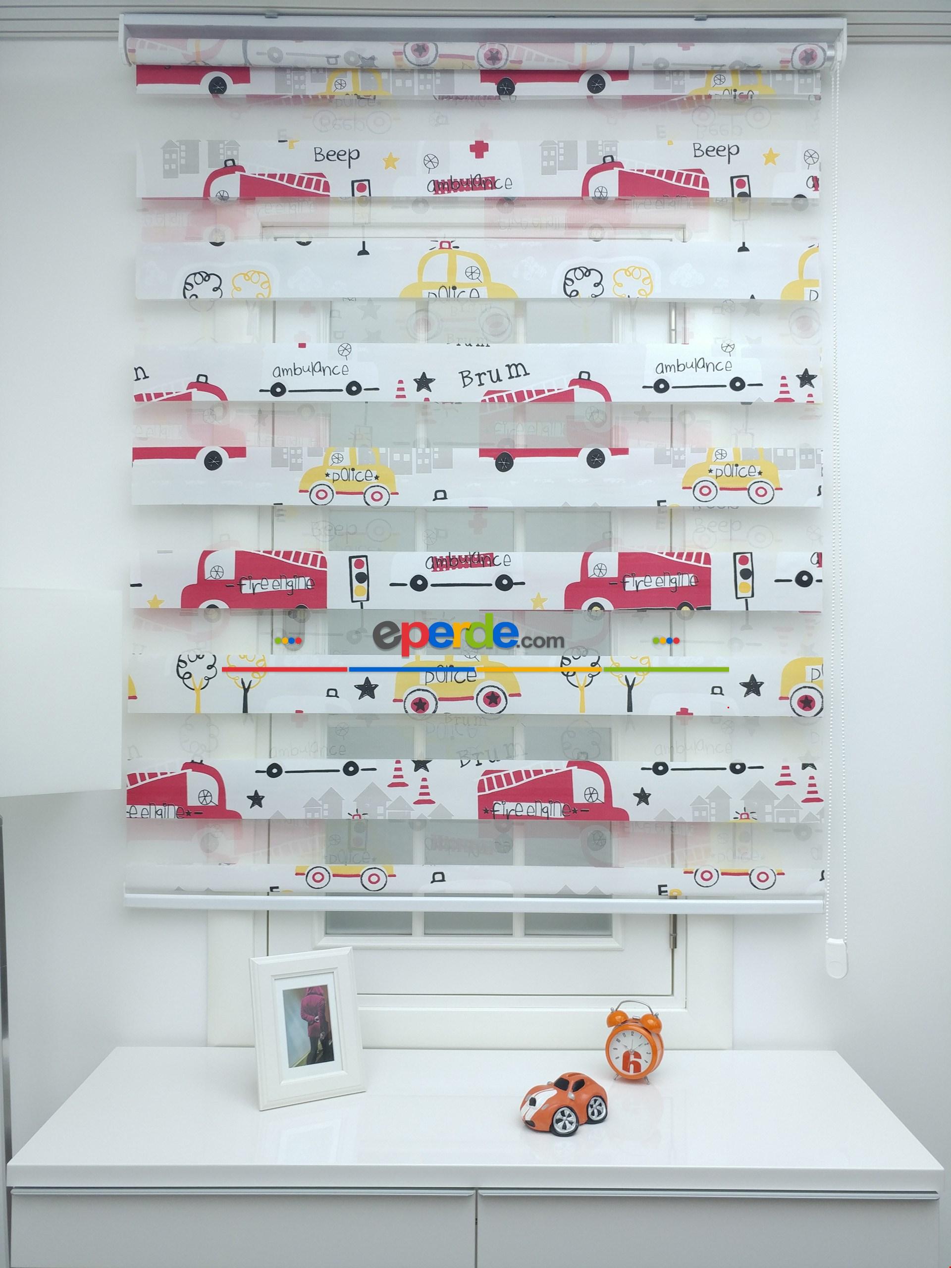 Fire Engine İtfaiye Arabası Erkek Çocuk Odası Zebra Perdesi ( Ücretsiz Etek Dilim )