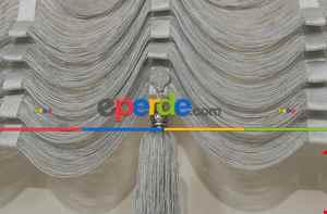 Drape Dar Bant Kadife Bantsız Şelale Zig Zag Model İp Perde Gri Gümüş Simli- Gri-füme-antrasit-gümüş Simli