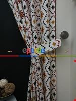 Geometrik Desenli Fon Perde ( Leke Tutmaz )- Siyah-Mavi-Kırmızı Siyah - Kırmızı - Hardal