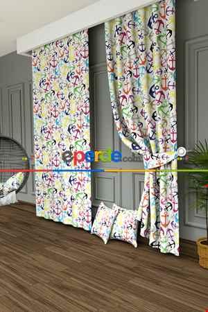 Çocuk Odası - Rengarenk Çapa Baskılı Fon Perde- Ekru-çok Renkli